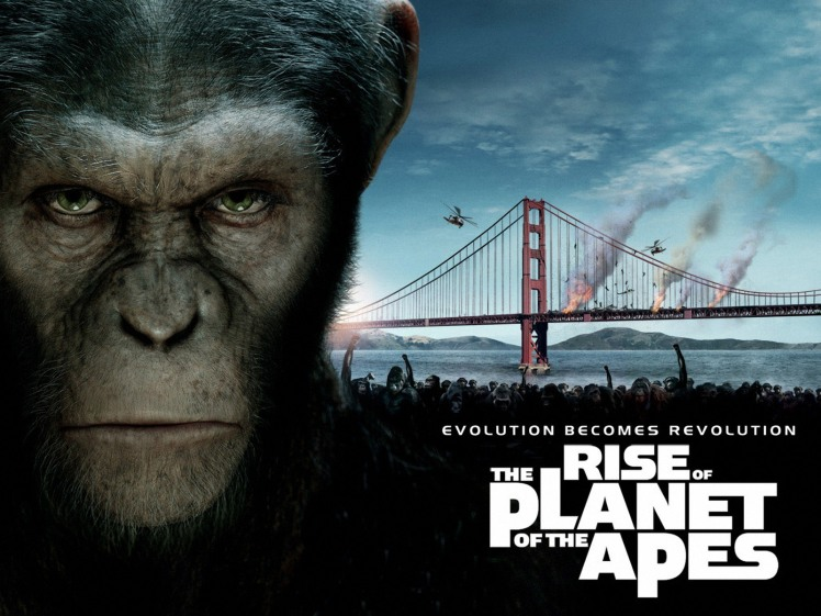 The tagline is ridiculous. The smart apes have nothing to do with evolution. They're made smart by drugs, but I guess the marketers couldn't resist the rhyme.